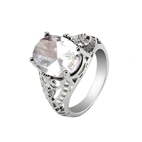 Womens Girls Pretty Faux Crystal Rings AfterSo Romance Gift for Her Girlfriend (8, Clear - 5) (Solid Zircon Ring)