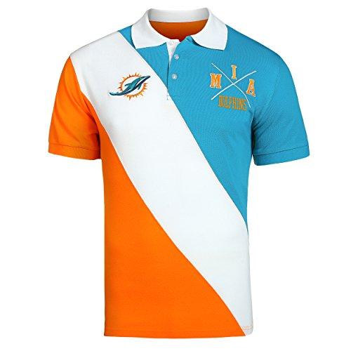 Miami Colors Dolphins (Miami Dolphins NFL Men's Diagonal Stripe Polo Shirt)