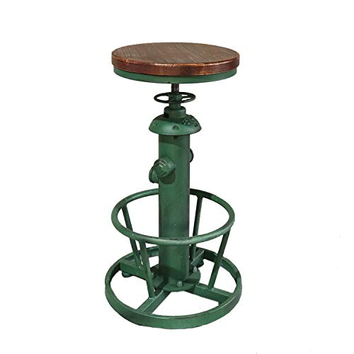 Topower American Antique Industrial Round Bottom Adjustable Height Cafe Coffee Retro Vintage Stylish Water Pipe Design Pub Kitchen Bar Stool (Antique Green)