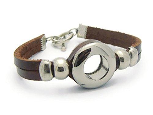 [ZVACE Jewelry Quality Brown Genuine Leather Charm Wrap Wristband Cuff Bangle Bracelet, MA10] (J Valentine Unicorn Costume)