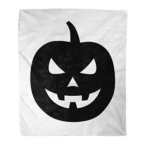 Emvency Throw Blanket Warm Cozy Print Flannel Jack O Lantern Halloween Carved Pumpkin Flat for Apps and Websites Comfortable Soft for Bed Sofa and Couch 60x80 Inches