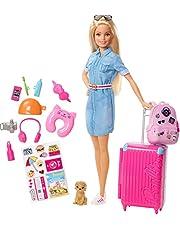 Barbie FWV25 - Barbie-docka och Reseset med Valp, Väskor och Över 10 Tillbehör, för Barn som är 3 till 7 år