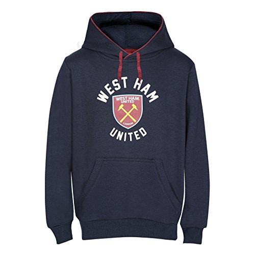 West Ham United FC Official Soccer Gift Mens Fleece Graphic Hoody Navy (West Ham United Football Club)