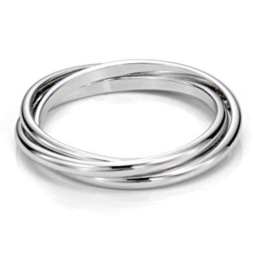 Sterling Silver Triple Interlocked Rolling High Polish Plain Dome Tarnish Resistant Wedding Band Ring Metal Factory