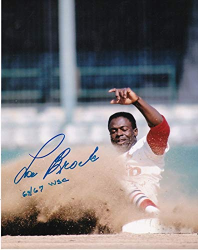 Signed Brock Picture - 1964 1967 WS CHAMPS 8x10 - Autographed MLB Photos
