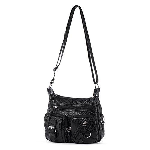 Women Crossbody Purse Small Vegan Leather Shoulder Bag Multi Pocket Cross Body Handbag for Girls Soft Casual Travel Purses Women's Day Gift Katloo (Black)