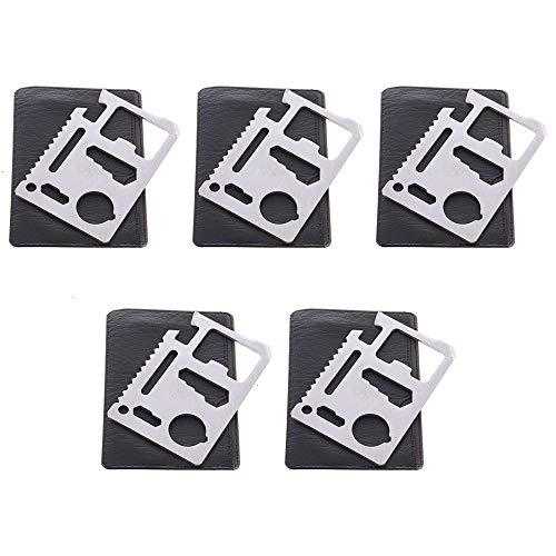 d, Pack of 5 11-Function Stainless Steel Survival Pocket Multi Tool for Camping Hiking Backpacking ()
