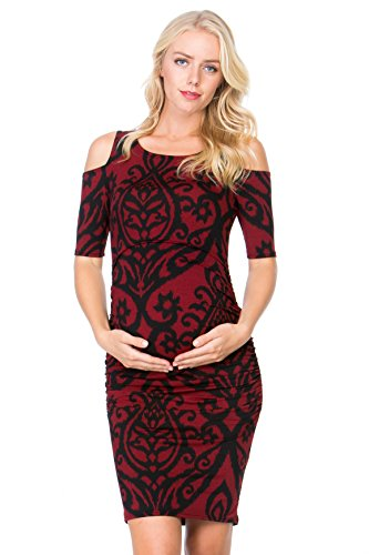 My Bump Women's Cold Shoulder Fitted Maternity Dress W/Side Ruched (Small, Burgundy/BLK DM)