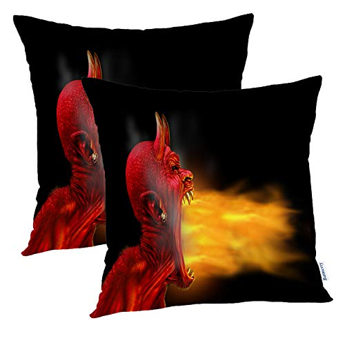 Batmerry Halloween Pillow Covers 18x18 inch Set of 2, Black Fire Creepy Scary Red Beast Monster Hot Burning Throw Pillows Covers Sofa Cushion Cover Pillowcase Home Gift]()