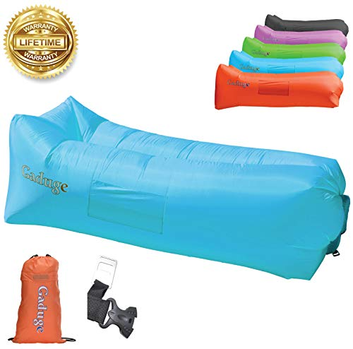 Gaduge Outdoor Inflatable Lounger & Pool Chair, Hangout Sofa & Inflatable Couch for Bedroom, Floats on Water - Includes Pockets, Comfy Headrest, Bottle Opener, Stake & Bag (Blue)