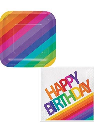 Happy Rainbow Birthday Plates & Napkins Serves 16 ()