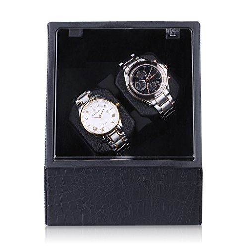 Excelvan Double Watch Winder Dual Automatic Watch Display Box Case Black Leather