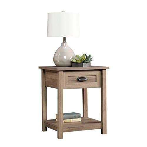 Sauder County Line Side Table/Night Stand, Salt Oak Finish (Bedside Table Wood)