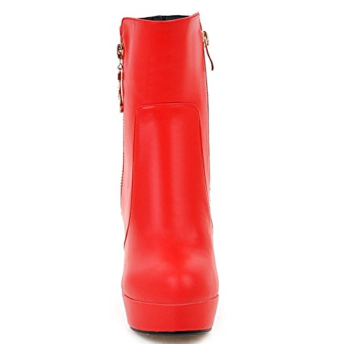 Kaloosh Women's High Hell Fashion Zip Ankle Boots Shoes Red M736Q6Nk
