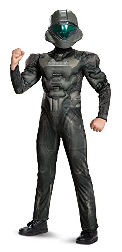 Halo 4 Marine Costume (Halo Spartan Buck Classic Muscle Costume, Black, Small (4-6))