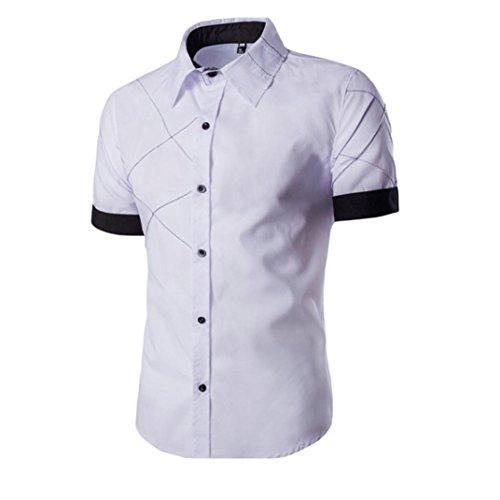PHOTNO Fashion Men Boy Summer Slim Fit Short Sleeve Dress Shirt Casual Cotton T Shirt