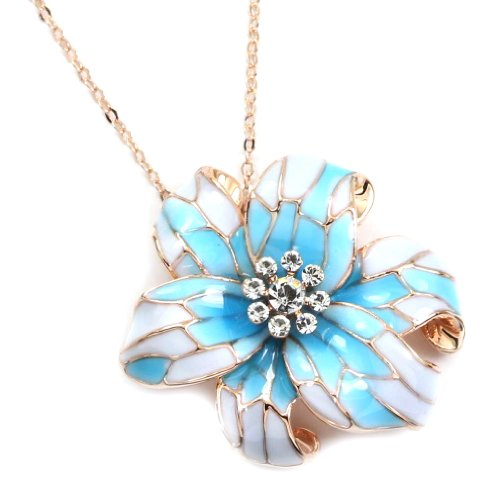 ated Crystal Blue Flower Daisy Pendant Necklace ()