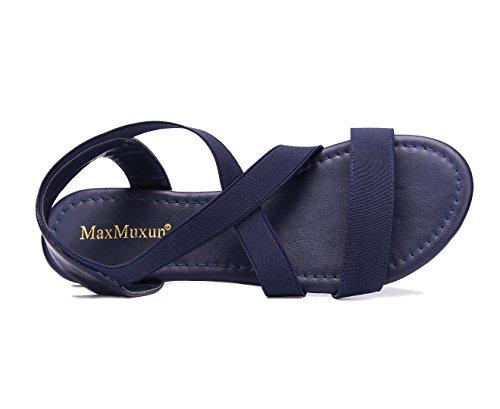 Maxmuxun Avec Plat Bleu Lacets Sandales Femmes Élastiques BwTRqZBrx