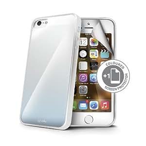 Celly Sunglasse - Carcasa con protector de pantalla para Apple iPhone 5/5S, color blanco