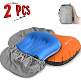 AYAMAYA Inflating Camping/Backpacking Pillows Set[2 Pack], Compressible Ultralight Inflatable Pillow with Pillow Case & Storage Bag -Ergonomic Portable Design for Neck & Lumbar Support While Sleepi