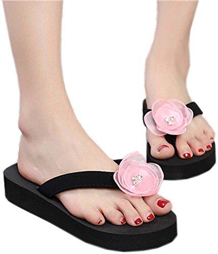 Bettyhome Donne Ragazze Sexy Fiori Di Boemia Tanga Comode Sandali Casual Sandali Da Spiaggia Infradito Pantofole Rosa