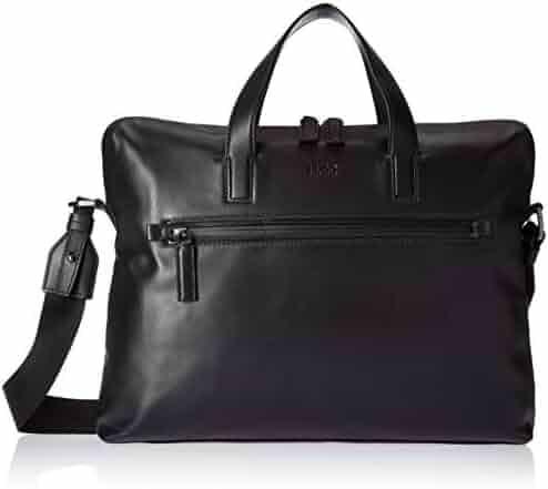 HUGO by Hugo Boss Men's National Soft Leather Workbag, black, ONE SIZE