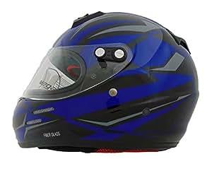 Vega Helmets KJ2 Junior Full Face Karting Helmet with Blue Drift Graphic (Blue, Medium)