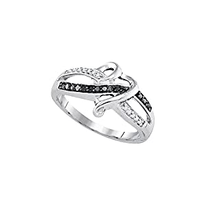 Size 7 - 925 Sterling Silver Black Round Pave-set Diamond Band Ring (1/10 Cttw)