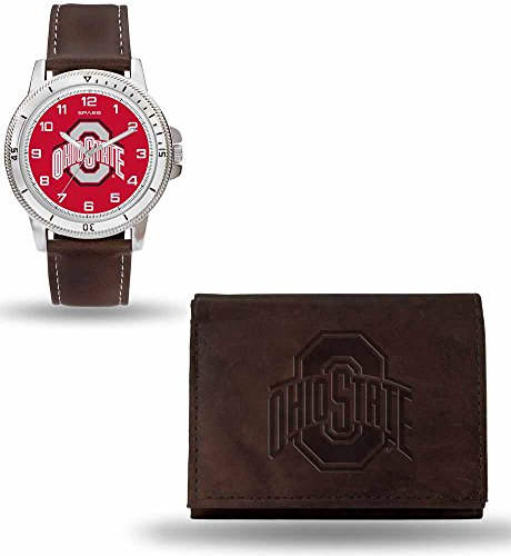 - NCAA Ohio State Buckeyes Men's Watch and Wallet Set, Brown, 7.5 x 4.25 x 2.75-Inch