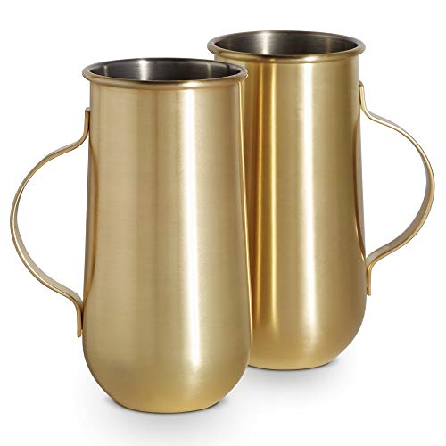 VonShef Set of 2 Gold Mugs with Handle – Ideal for Hot & Cold Drinks, Inc. Latte, Cappuccino & Americano or Cold Brew Coffee, Cocktails & Beer – Perfect Birthday or Housewarming Gift ()