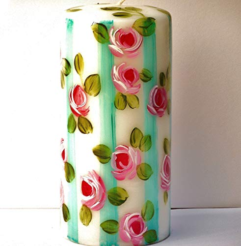 Summer Decor Hand Painted Decorative Large White Pillar Candle with Pink Roses and Turquoise Blue Stripes