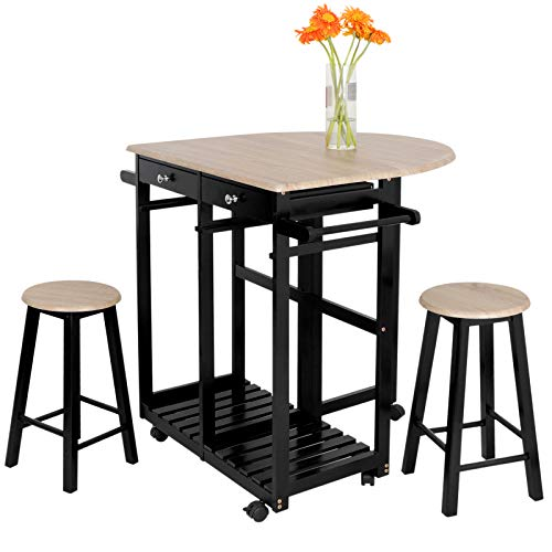 ZENSTYLE Wood Drop Leaf Kitchen Rolling Cart Set - Space Saving Folding Table w/ 2 Stools and 2 Drawers - 3-Piece Table Dinning Set Breakfast Bar Kitchen Island Trolley Cart
