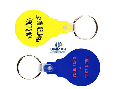 - 100 Personalized Light Bulb Shape Plastic Keychain Printed with Your Logo or Message