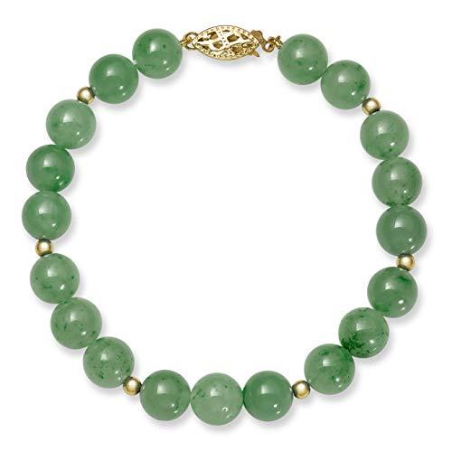 (14k Gold Natural Green Jade Bead Bracelet, 7.5