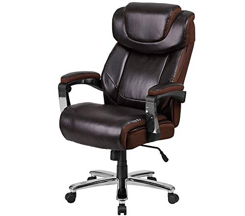 Wood & Style Office Home Furniture Premium Series Big & Tall 500 lb. Rated Brown Leather Executive Swivel Chair with Height Adjustable Headrest
