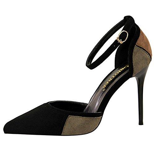 Sandals Donna Colors Black 6 grey Zanpa Stiletto Mode PtnwWWp7