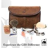 Merkur Deluxe Travel Dopp Kit - #23001 Double Edge Safety Razor, Chrome Shaving Brush, Bowl, Soap comes with GBS Alum Block + Leather Toiletry Bag