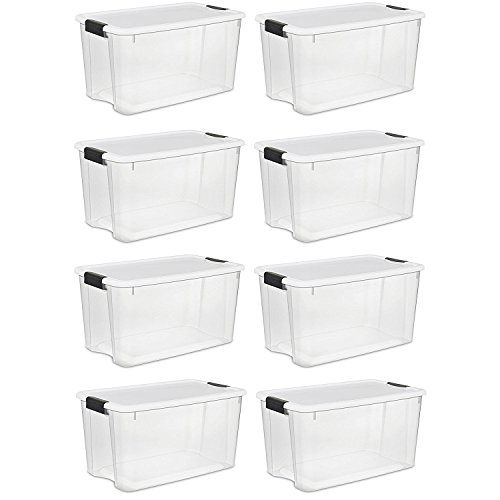 Sterilite 70 Quart Ultra Latch Storage Box with White Lid & Clear Base (8 Pack) by STERILITE