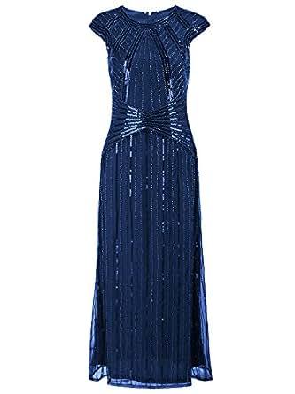 Vijiv 1920s Long Prom Dresses Cap Sleeve Beaded Sequin