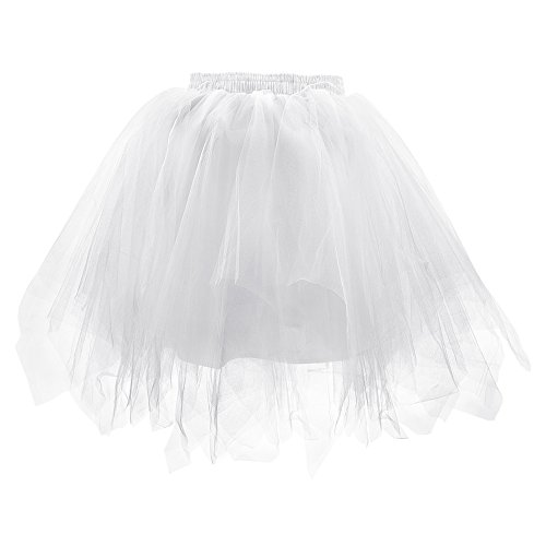 LONGBLE Women's Teen's Gilrs Ballet Bubble Skirt 1950s Vintage Short Tulle Petticoat Puffy Tutu Dress 3 Layers -