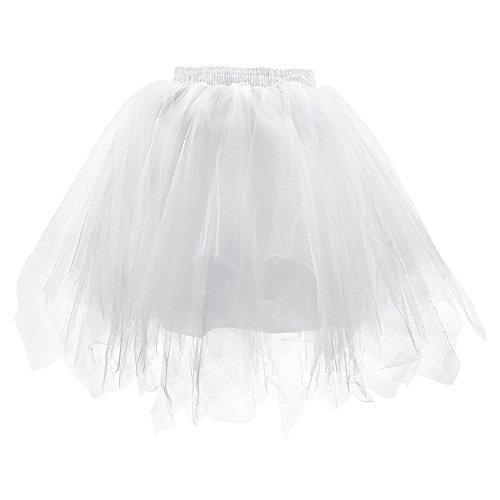 LONGBLE Women's Teen's Gilrs Ballet Bubble Skirt 1950s Vintage Short Tulle Petticoat Puffy Tutu Dress 3 Layers ()