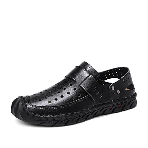 Leather Breathable Head Men's Beach Black Round Sandals Shoes Casual QXH 07IwA6qw