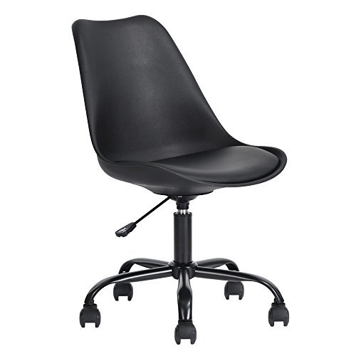 Ihouse Tulip Lounge Movable Armless High Adjustable Office Swivel Chair for Home Office (Black-02) - Y-360 Mod Style Wheels