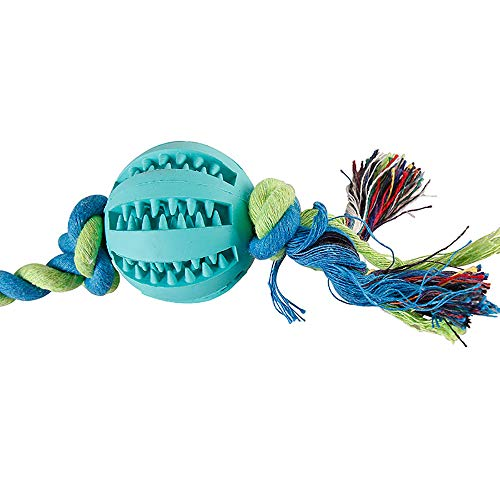 - JFS Dog Rubber Ball Chew Toy, Interactive Dog Toy Dog Teeth Cleaning Toy Ball with Rope Dog Toy,Green,M