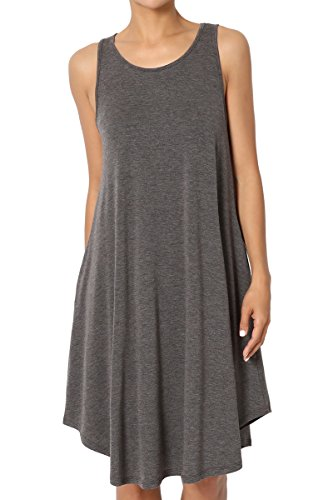 (TheMogan Women's Sleeveless Trapeze Knit Pocket T-Shirt Tank Dress Charcoal L)