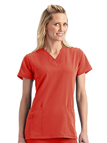 Classic Fit Collection by Jockey Women's Tri Blend Solid Scrub Top Large Hibiscus