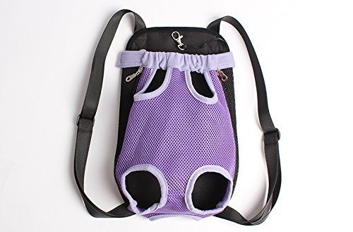 Mkono Fashion Portable Soft Pet Legs Head Out Travel Front Backpack Carrier Bag Case For Pet Dog Puppy Cat,Purple by Mkono (Image #4)