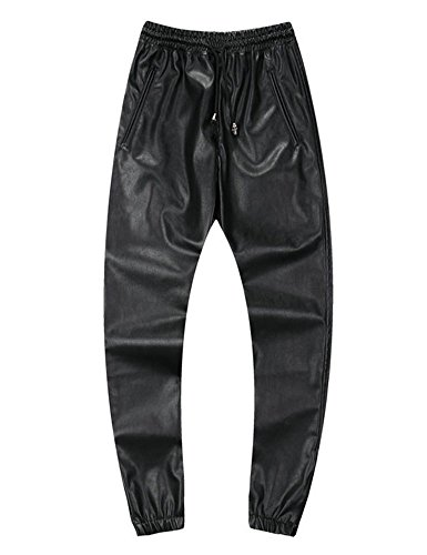 Idopy Men`s Leather Joggers Pants with Drawstring 38 -