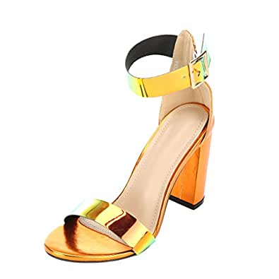 ARIES Womens Ankle Strap Chunky Block High Heel Sandals Cute high Heels Red Size: 6