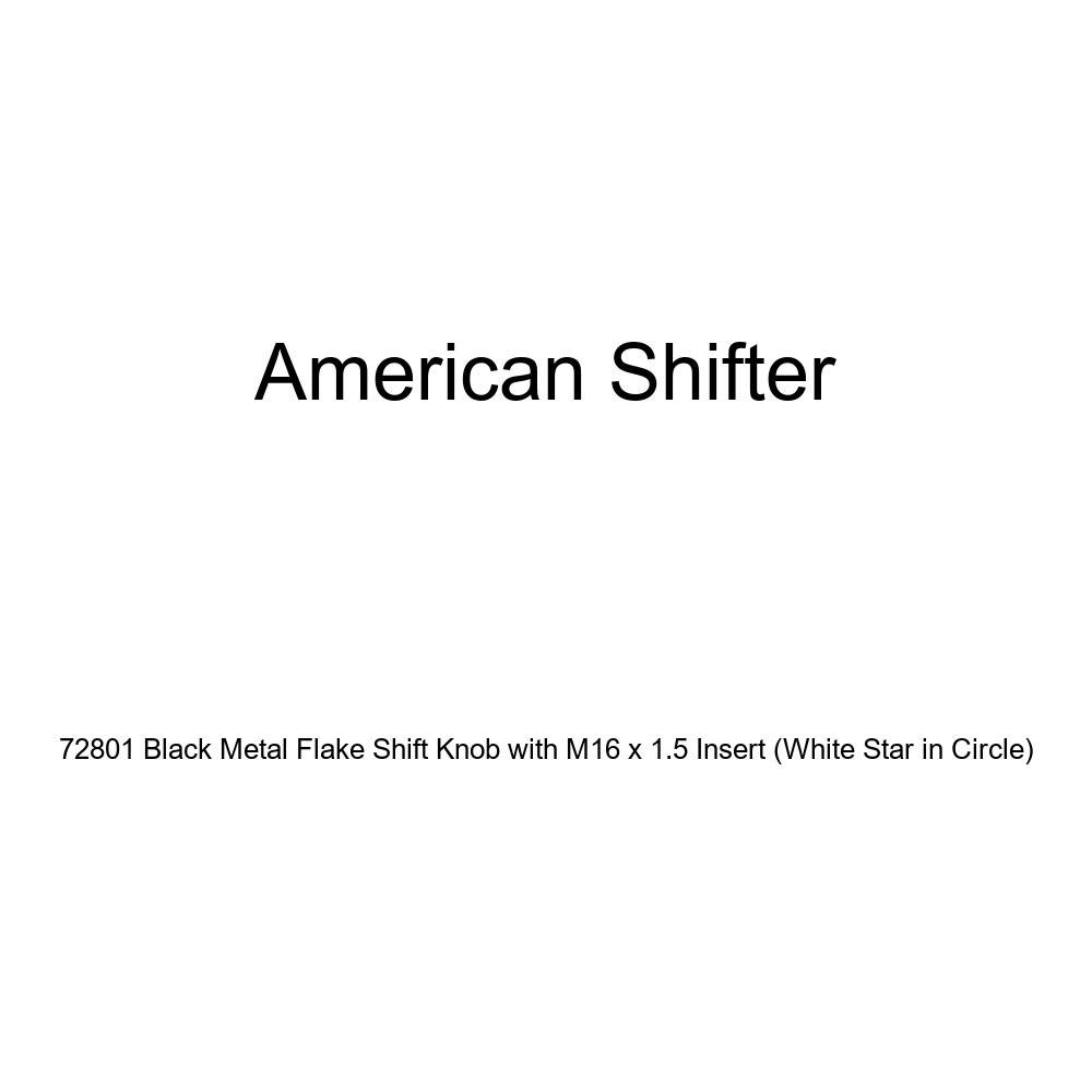 American Shifter 72801 Black Metal Flake Shift Knob with M16 x 1.5 Insert White Star in Circle